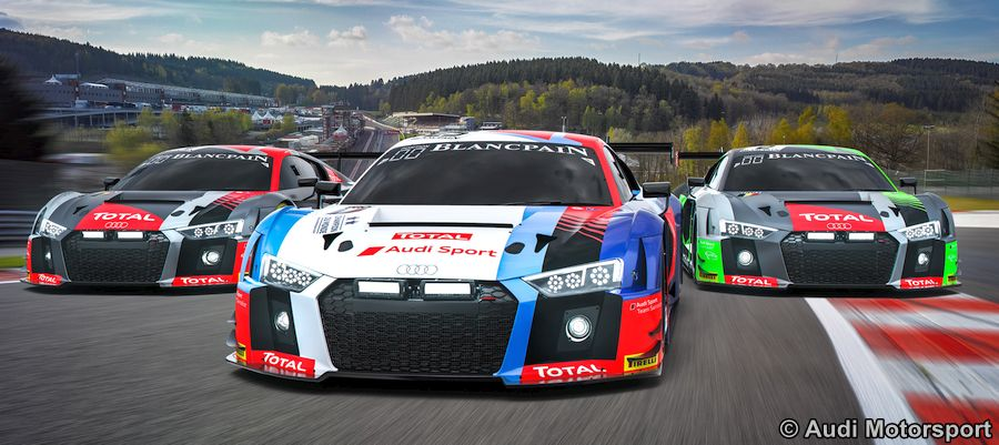 drei der neun audi r8 lms starten mit unterstutzung von audi sport customer racing zwei rennwagen aus dem belgischen audi sport team wrt gewinner des